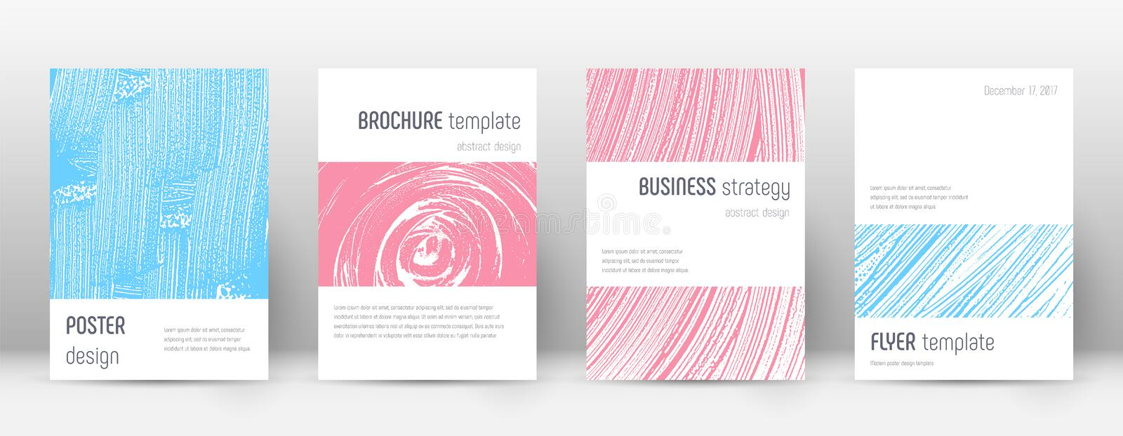 Cover page design template. Minimalistic brochure. Layout. Classy trendy abstract cover page. Pink and blue grunge texture background. Cute poster royalty free illustration