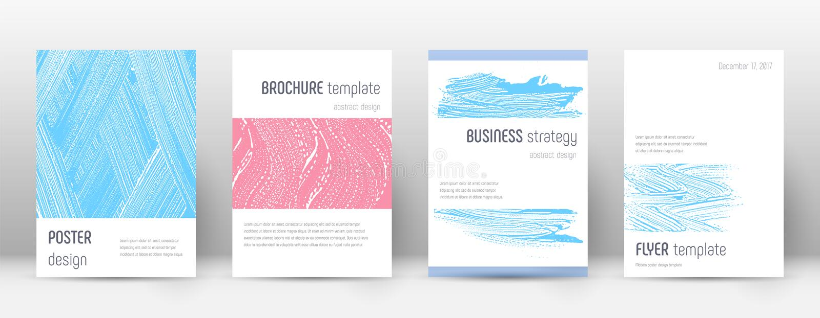 Cover page design template. Minimalistic brochure. Layout. Classy trendy abstract cover page. Pink and blue grunge texture background. Adorable poster vector illustration