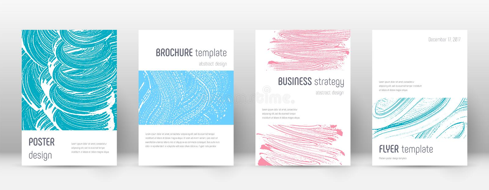 Cover page design template. Minimalistic brochure. Layout. Classy trendy abstract cover page. Pink and blue grunge texture background. Astonishing poster stock illustration