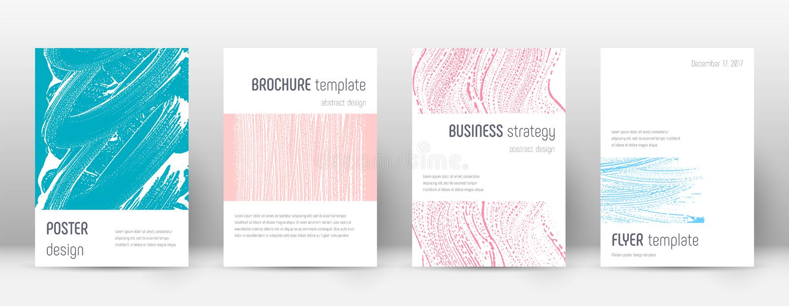 Cover page design template. Minimalistic brochure. Layout. Classy trendy abstract cover page. Pink and blue grunge texture background. Captivating poster vector illustration