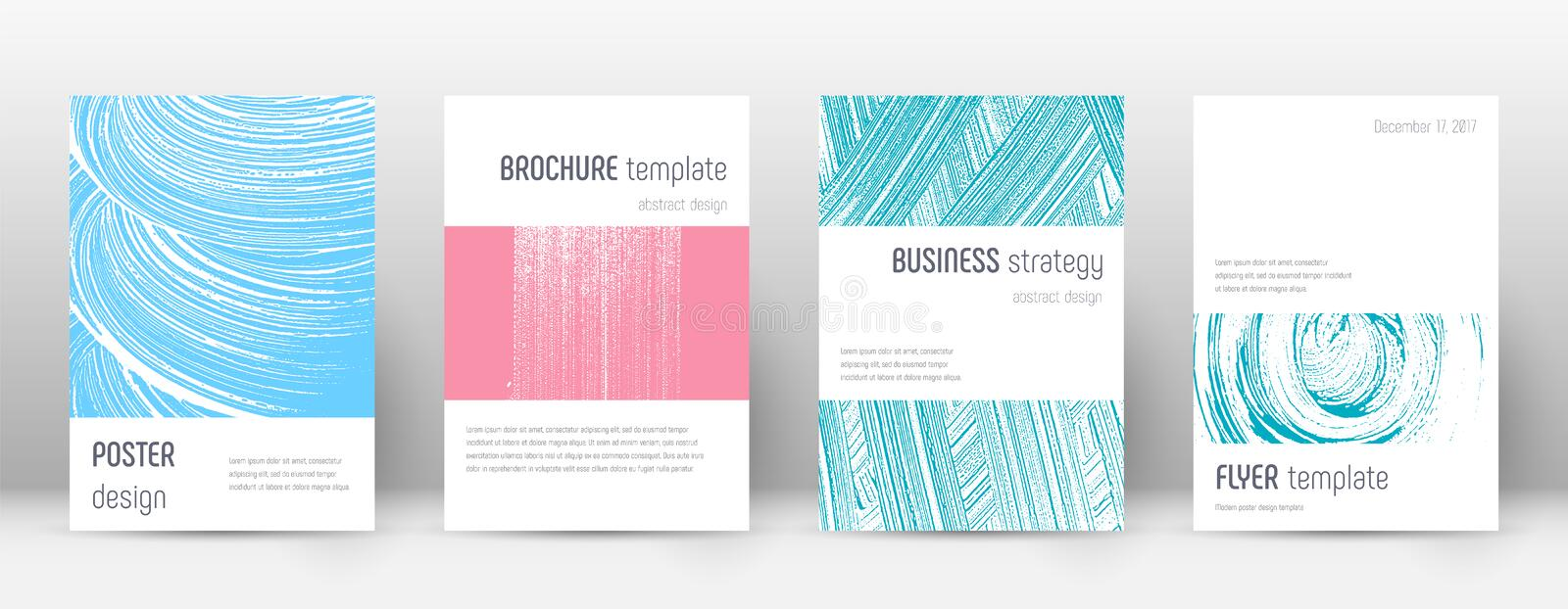 Cover page design template. Minimalistic brochure. Layout. Classy trendy abstract cover page. Pink and blue grunge texture background. Classic poster royalty free illustration