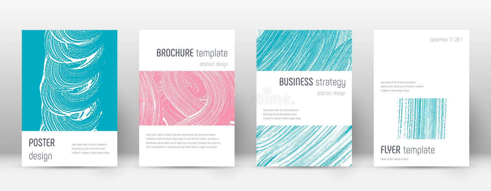 Cover page design template. Minimalistic brochure. Layout. Classy trendy abstract cover page. Pink and blue grunge texture background. Emotional poster stock illustration