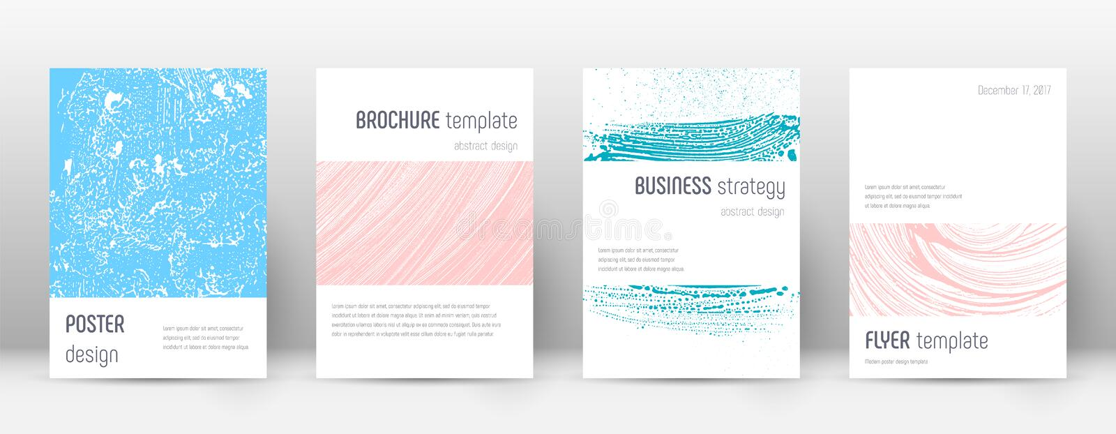 Cover page design template. Minimalistic brochure. Layout. Classy trendy abstract cover page. Pink and blue grunge texture background. Enchanting poster royalty free illustration