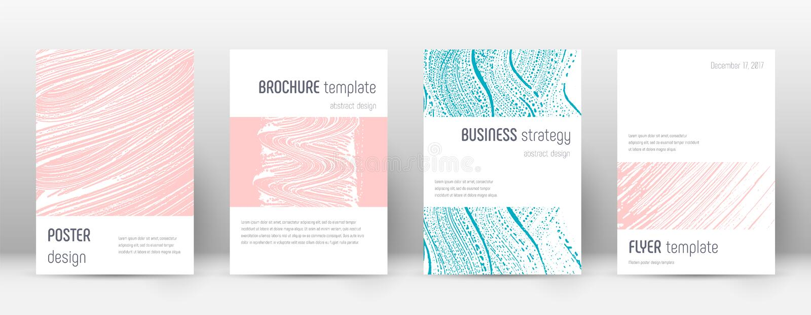 Cover page design template. Minimalistic brochure. Layout. Classy trendy abstract cover page. Pink and blue grunge texture background. Unusual poster stock illustration
