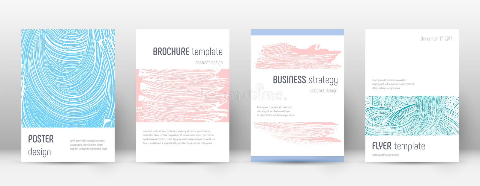 Cover page design template. Minimalistic brochure. Layout. Comely trendy abstract cover page. Pink and blue grunge texture background. Bold poster stock illustration