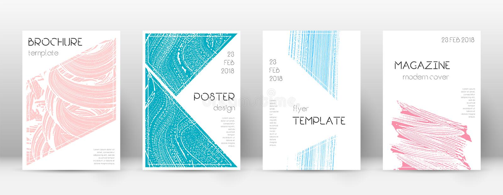 Cover page design template. Triangle brochure layo stock illustration