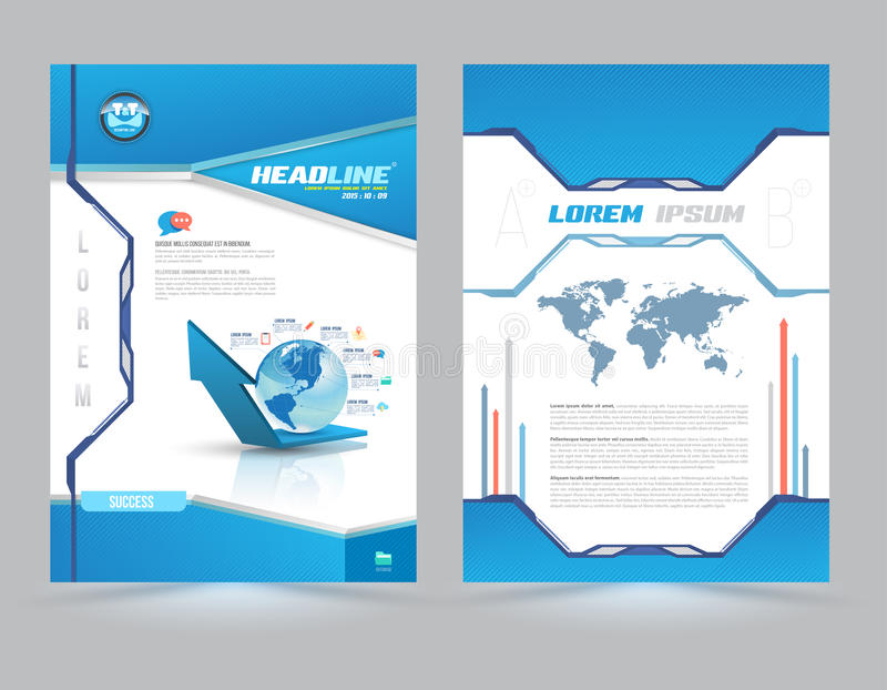 Cover page layout template technology style stock for Book cover template illustrator