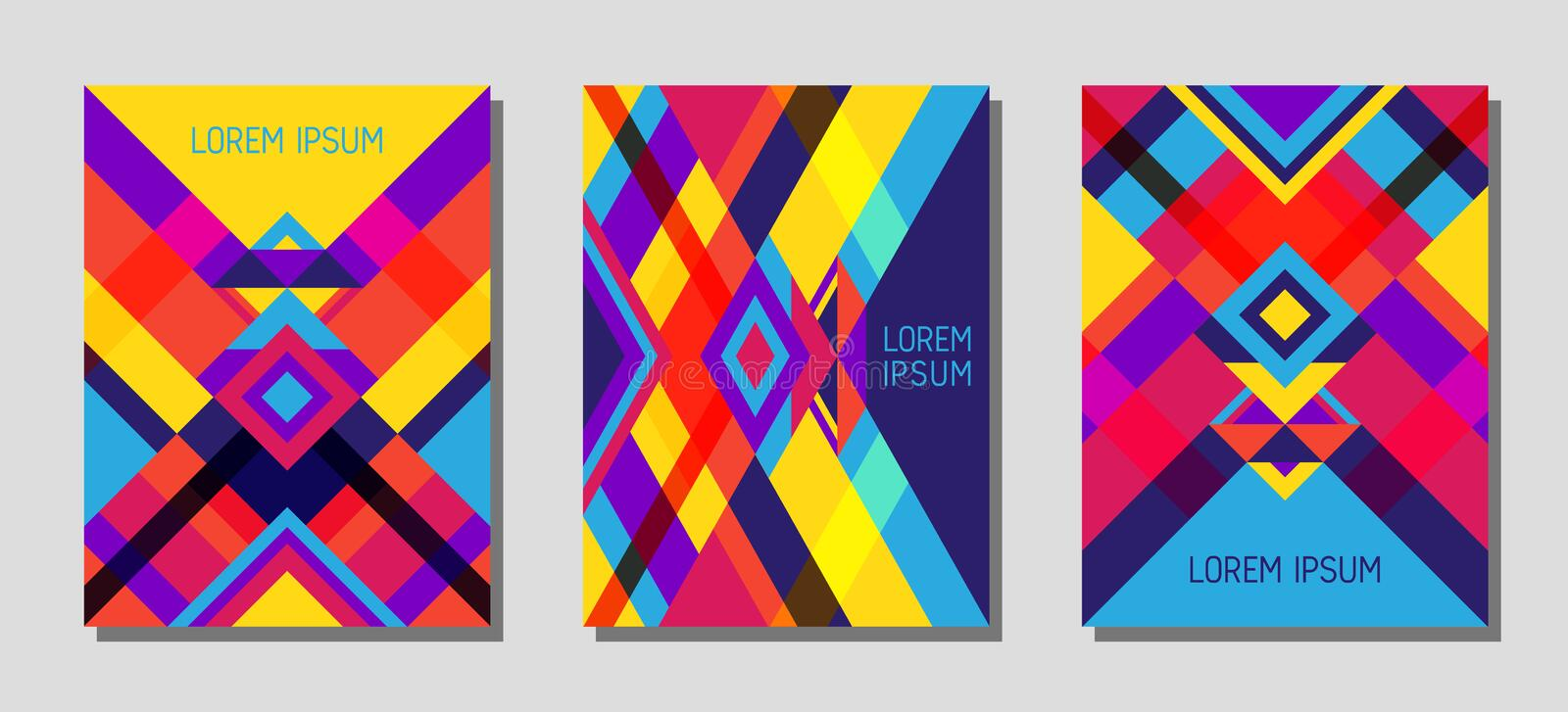 Cover page layout vector template geometric design with triangles and stripes pattern in red blue yellow violet. Collection of cover page layouts, vector vector illustration
