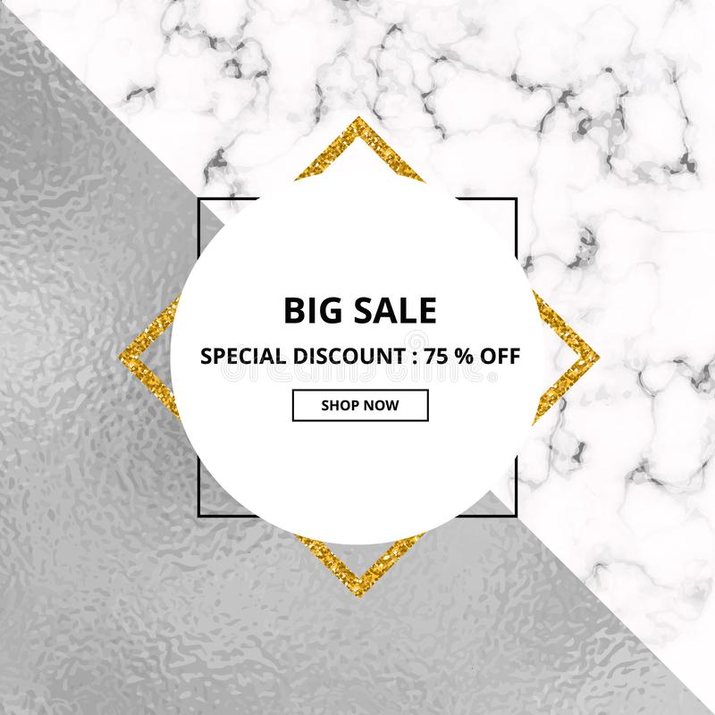 Cover placard sale white marble or stone texture and silver foil texture. Trendy geometric poster. Templates for your designs, ban royalty free illustration