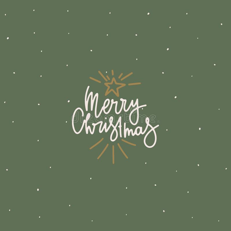Cover or postcard design. Freehand drawn text: Merry Christmas, shining star stock illustration