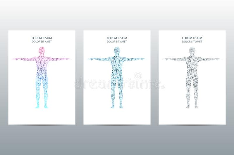 Cover or poster design with human body, scientific and technological concept, vector illustration. Cover or poster design with human body, scientific and vector illustration