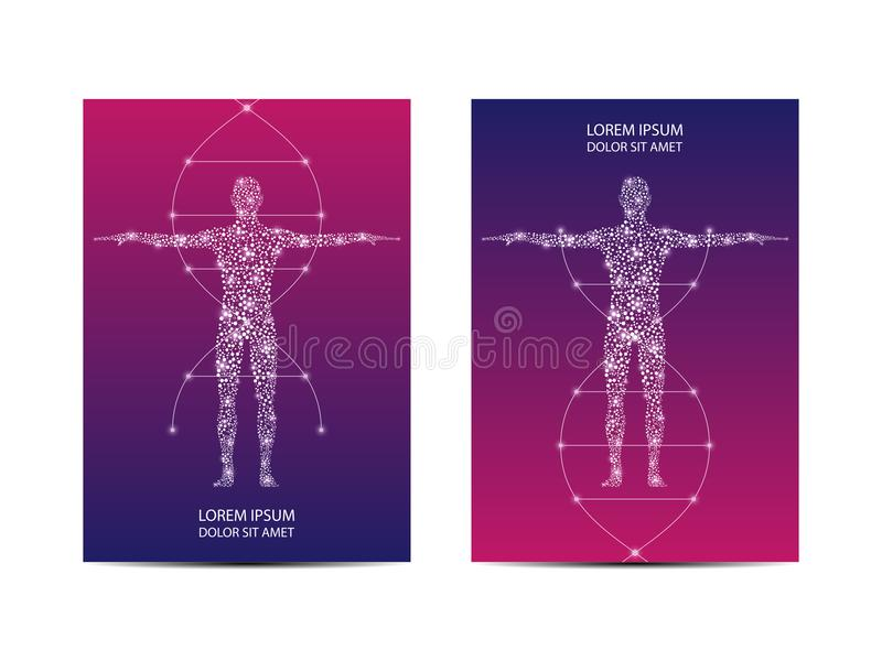 Cover or poster design with human body, scientific and technological concept, vector illustration. Cover or poster design with human body, scientific and royalty free illustration