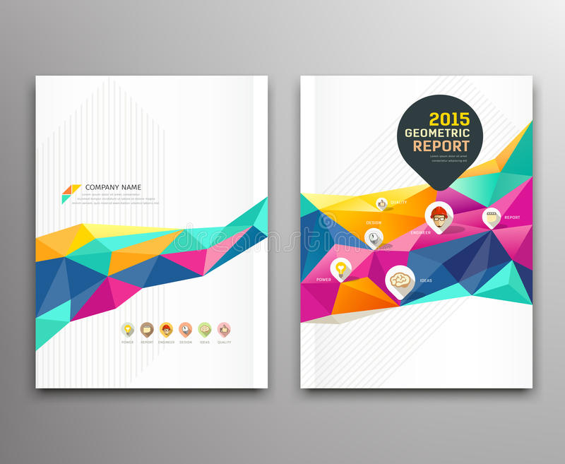 Cover report colorful triangle geometric shapes stock illustration