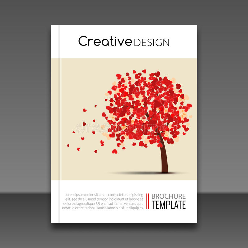 Cover report flyer colorful tree with hearts prospectus design background, cover flyer magazine, brochure book cover royalty free illustration