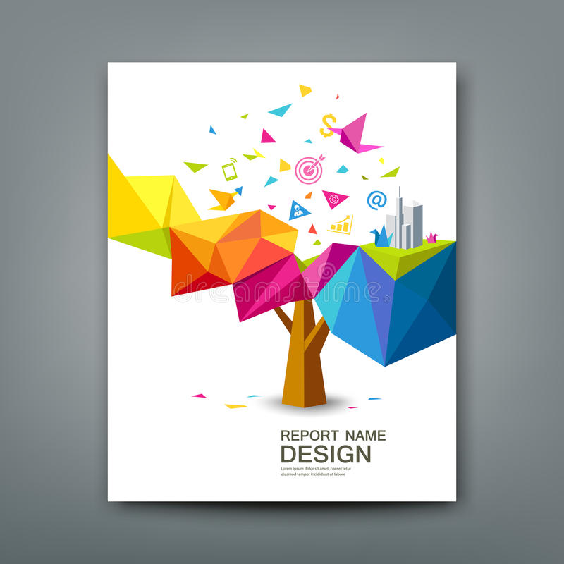 Cover report tree colorful geometric with bird paper. With business icons concept design royalty free illustration