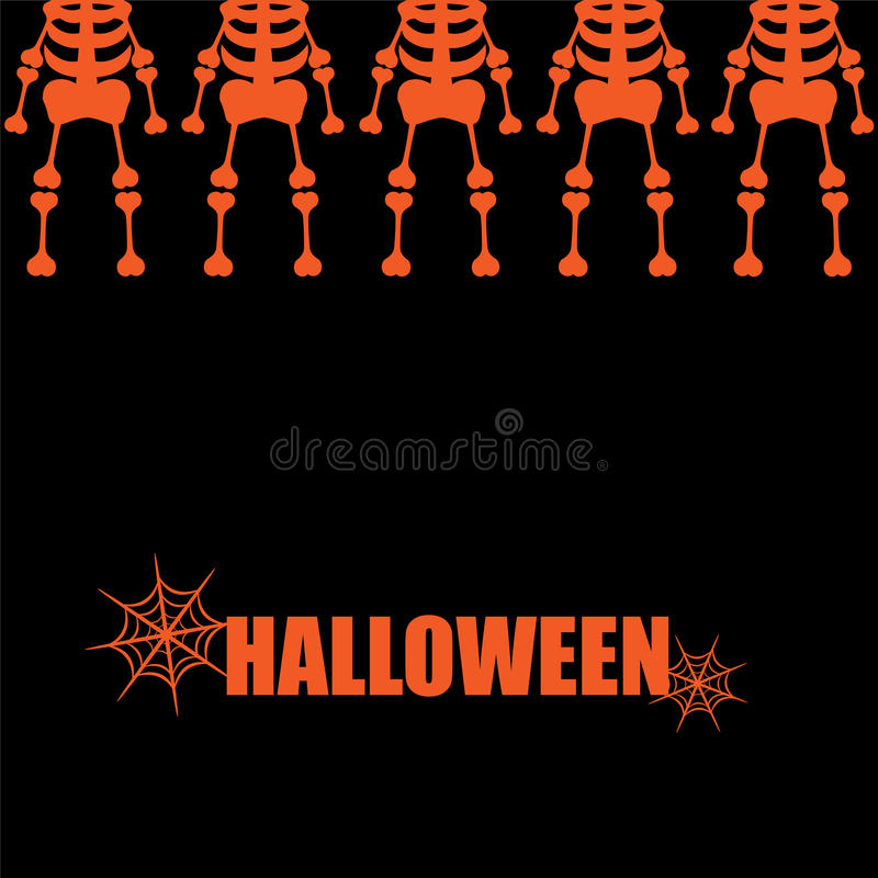 Cover skeletons on black. Beautiful art creative colorful halloween holiday wallpaper vector illustration cover of many orange human skeletons in upper row with royalty free illustration