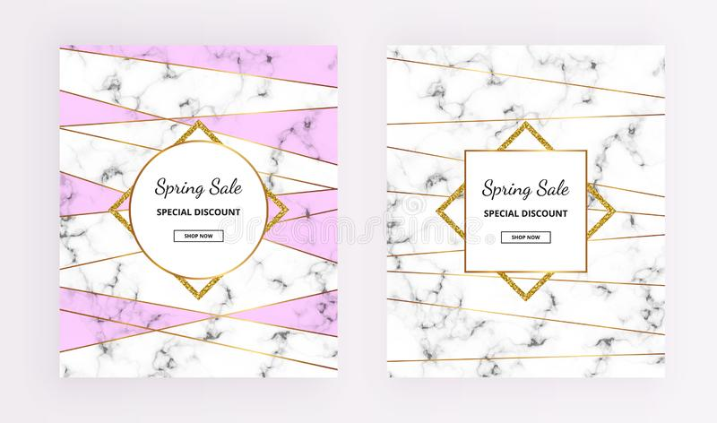 Cover Spring sale, line design with marble texture and gold glitter frames, purple colors background. Template for design invitati. On, card, banner, wedding stock illustration