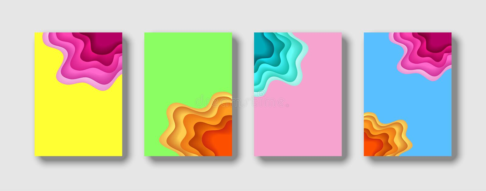 Cover template with abstract paper cut yellow green pink blue background 3D. Vector template in carving art style. Modern design stock illustration