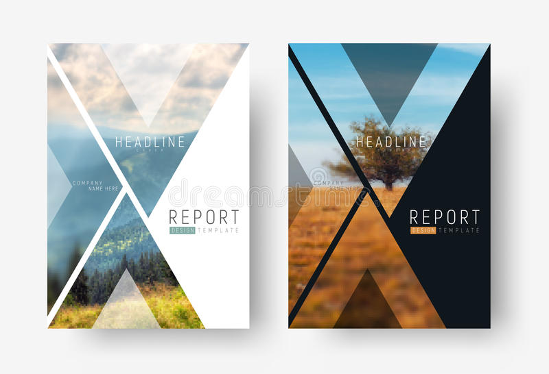Cover template for a report in a minimalistic style with triangular design elements for a photo. stock illustration