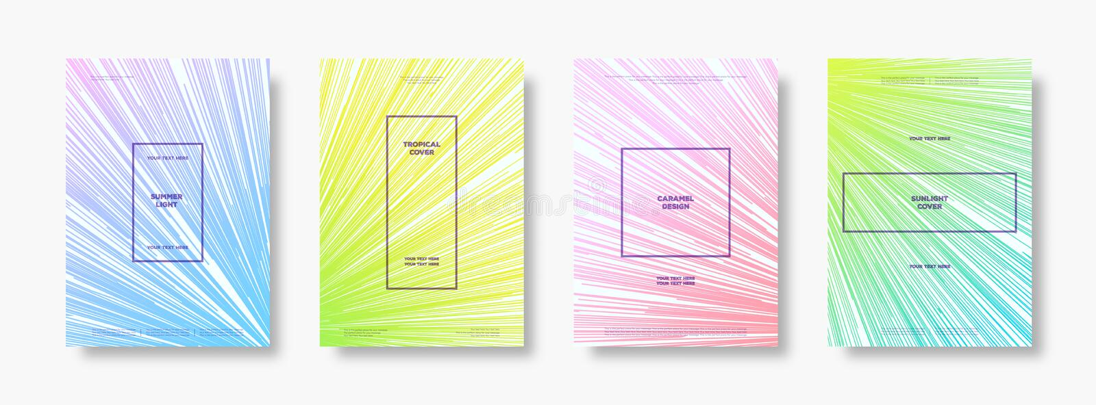 Cover template set with minimalistic cute color gradient style for summer party poster vector illustration