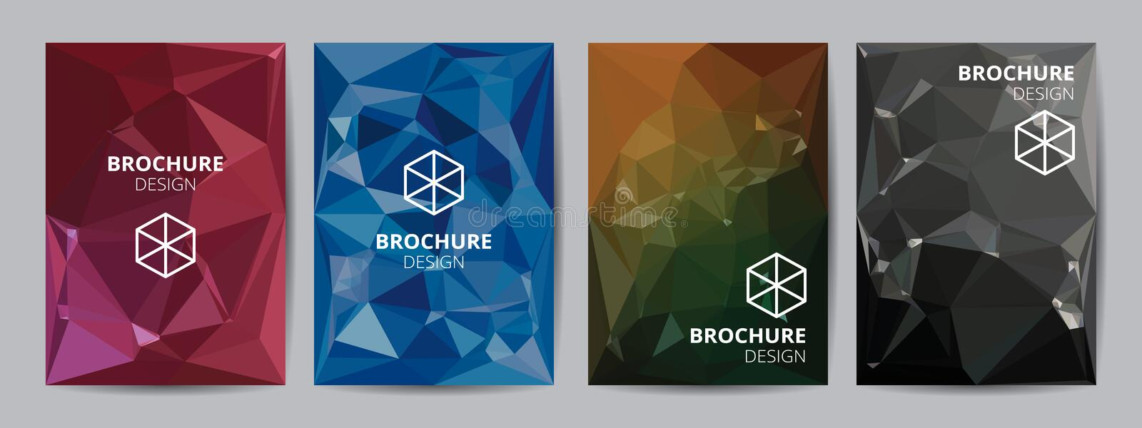Cover template A4 size blue red black low polygon color theme background. Company report abstract book design stock illustration
