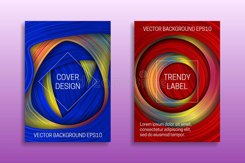 Cover templates with colored and holographic layers. Trendy colorful brochures or labels backgrounds stock illustration