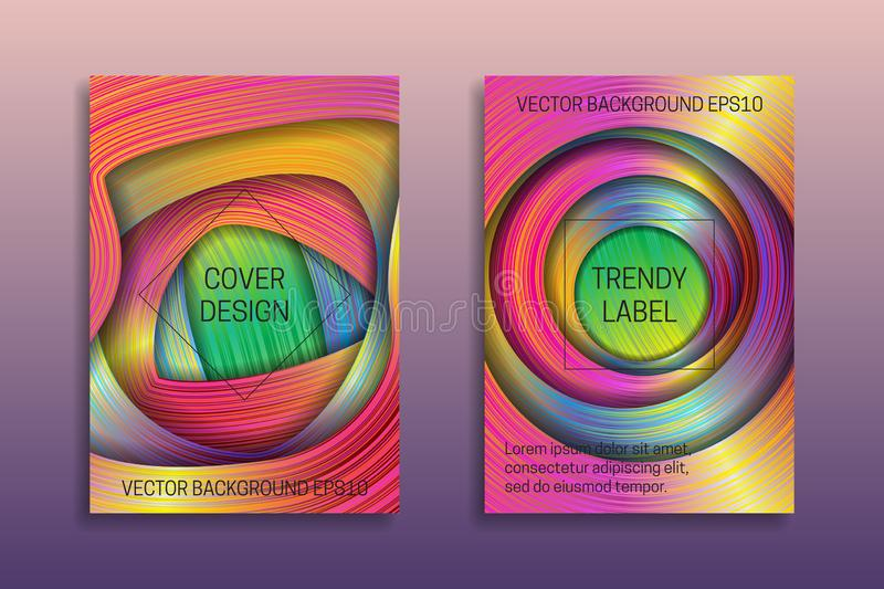 Cover templates with holographic layers. Trendy bright brochures or labels backgrounds stock illustration