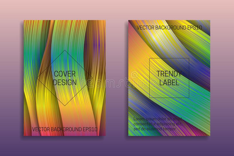 Cover templates with holographic ribbons. Trendy bright brochures or labels backgrounds stock illustration