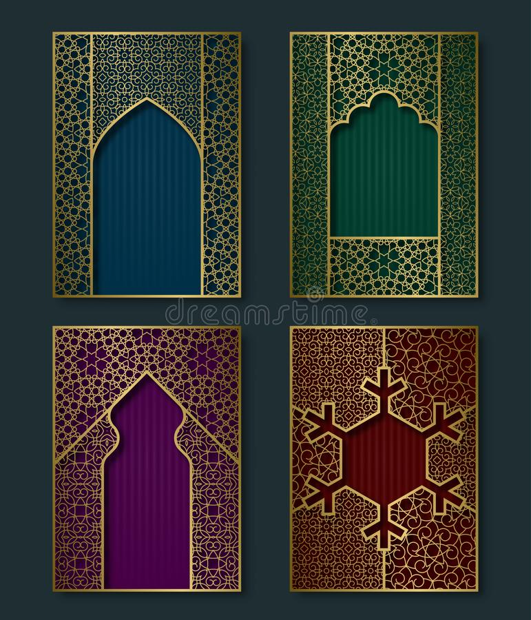 Cover templates set in luxurious oriental style. Booklet, brochure, greeting card backgrounds with ornate golden frames stock illustration