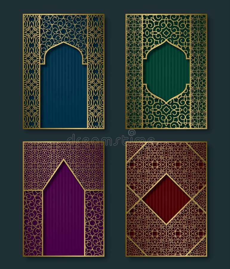 Cover templates set in luxurious oriental style. Booklet, brochure, greeting card backgrounds with ornate golden frames vector illustration
