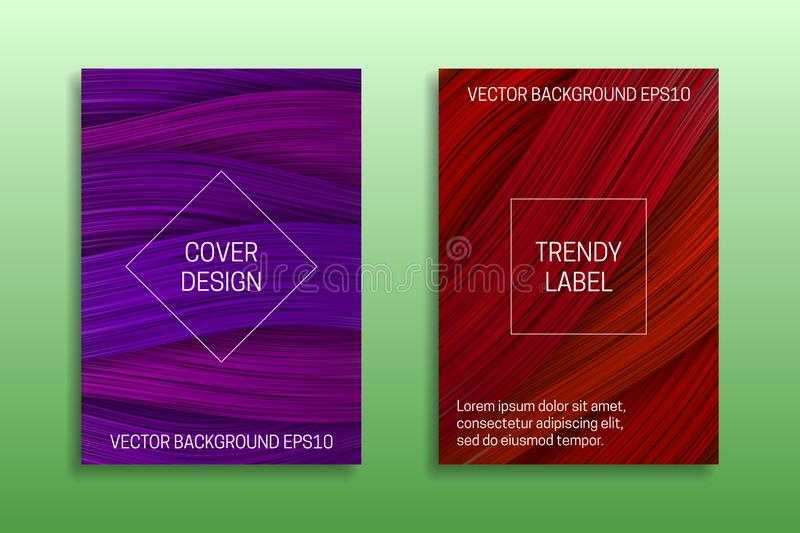 Cover templates with volumetric colored curls. Trendy brochure or packaging backgrounds in purple and red shades stock illustration