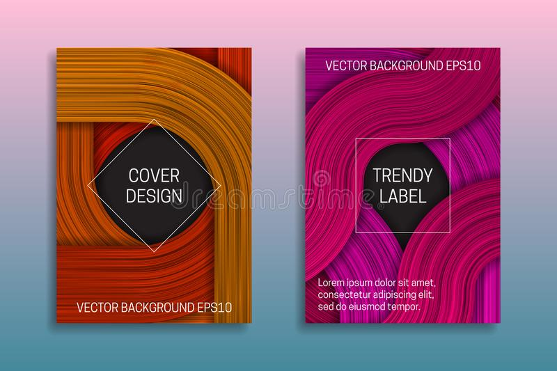 Cover templates with volumetric strokes. Trendy brochure or packaging backgrounds in orange and pink shades vector illustration
