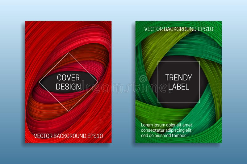 Cover templates with volumetric strokes. Trendy brochure or packaging backgrounds in red and green shades stock illustration