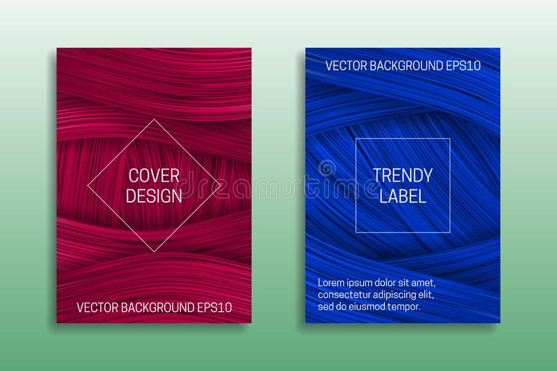 Cover templates with volumetric strokes. Trendy brochures backgrounds in pink and blue shades stock illustration
