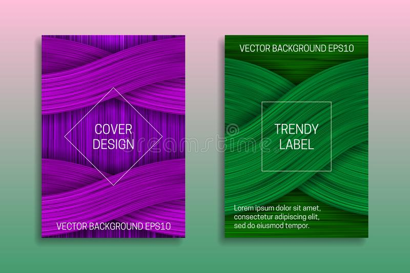 Cover templates with volumetric texture. Trendy brochure or label backgrounds in purple and green shades vector illustration
