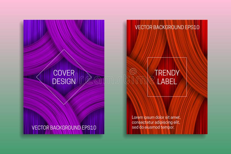 Cover templates with volumetric texture. Trendy brochure or label backgrounds in purple and orange shades stock illustration