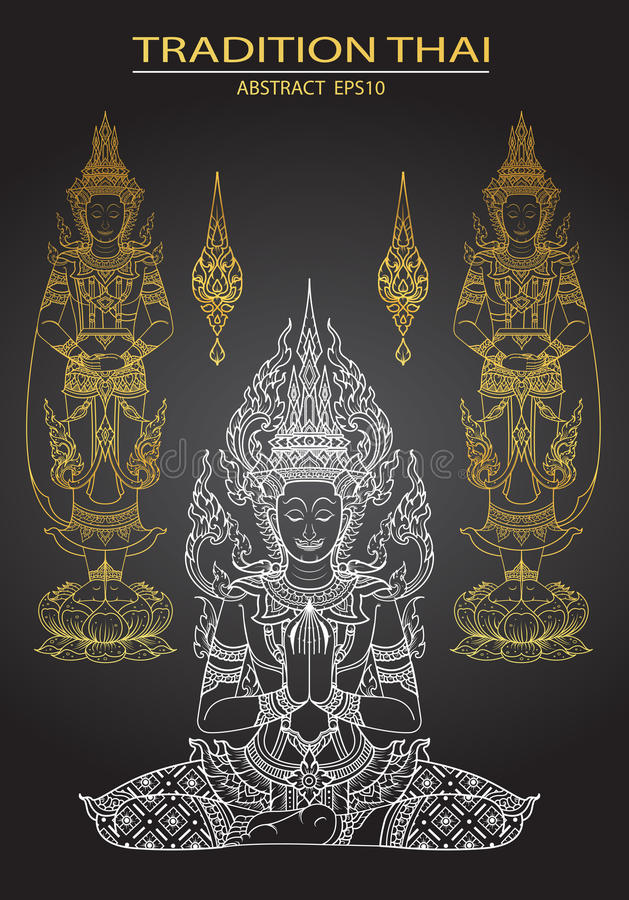 Cover tradition thai Buddha Jewelry Set. Vector vector illustration