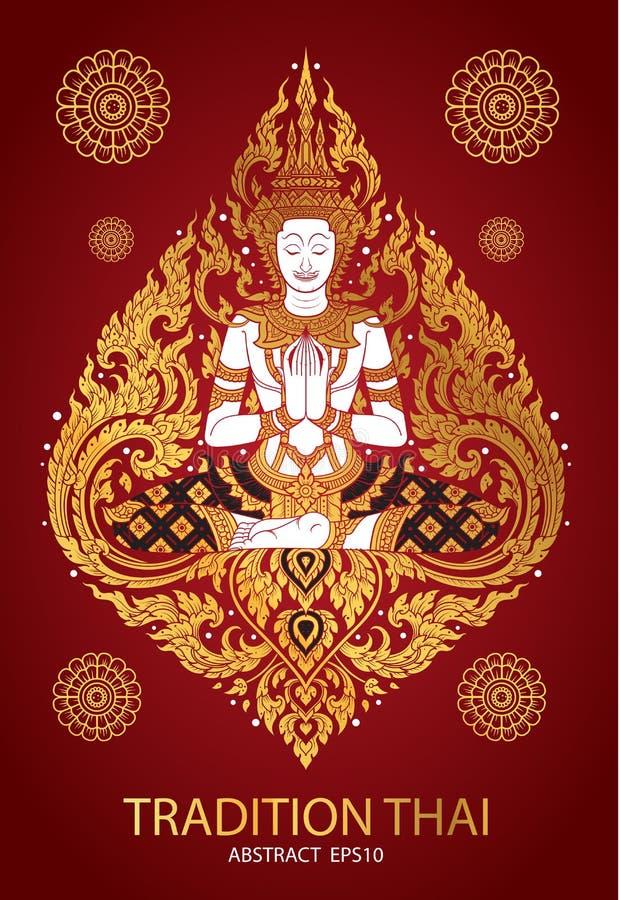 Cover tradition thai Buddha Jewelry Set stock illustration