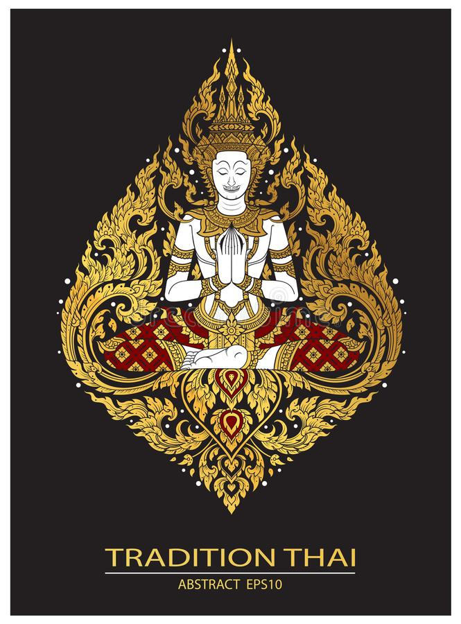 Cover tradition thai Buddha Jewelry Set. Vector stock illustration