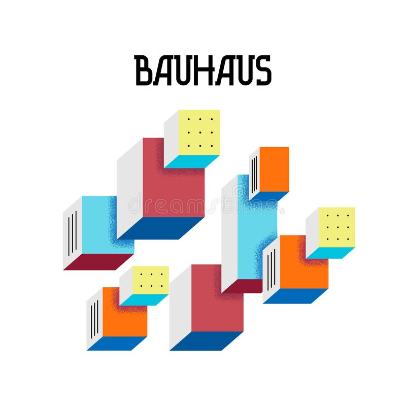 Cover trendy abstract geometric pattern in the style of Bauhaus 60s on white background. Bright floating cubic forms with effect of stereo. Isolated vector vector illustration