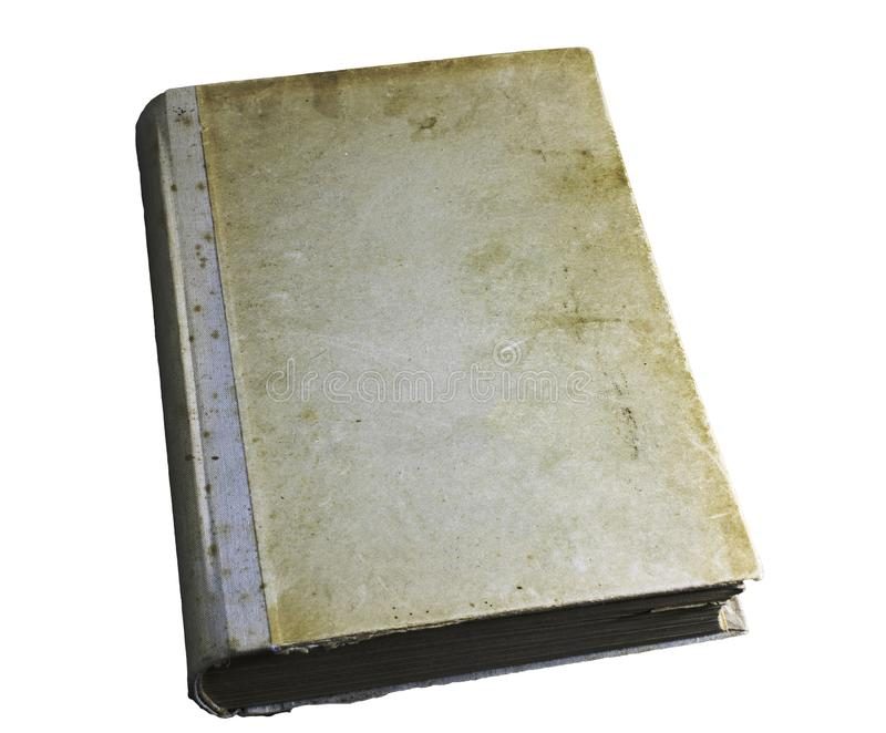 Cover of old, yellow, stained book isolated on white background. Cover of very old, yellow, stained book isolated on white background, blank royalty free stock image