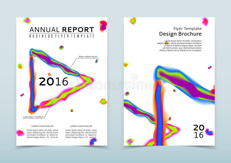 Cover of the white annual report with abstract watercolor triangle stock illustration