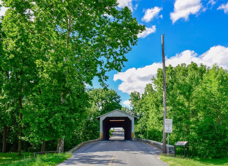 Amish Countryside Covered Bridge. On a sunny day royalty free stock images