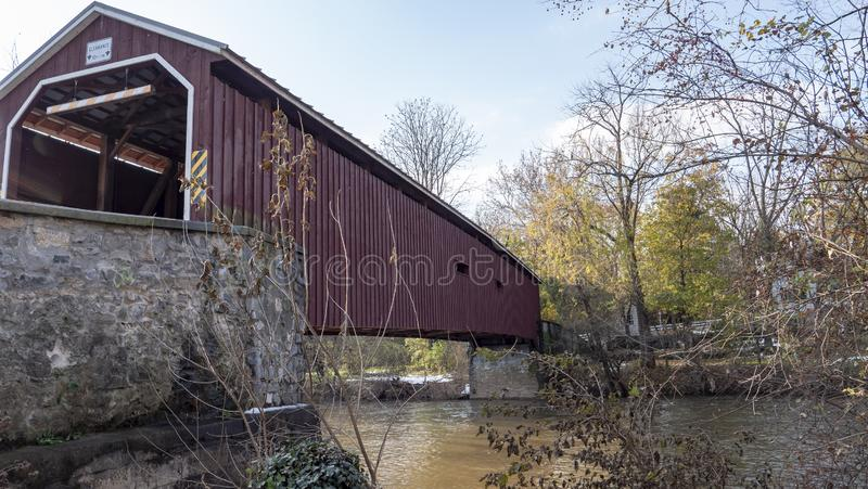 Amish Countryside Dutch Kissing Covered Bridge. On a Sunny Day royalty free stock photo
