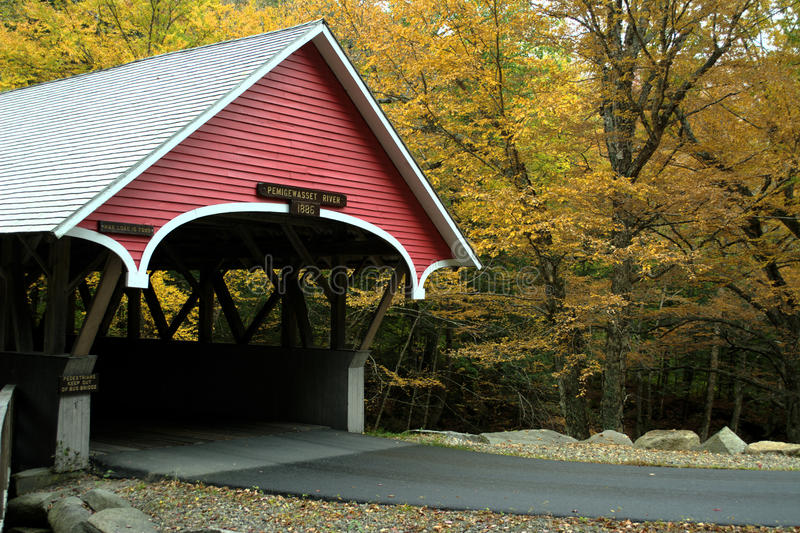 Download Covered Bridge in Autumn stock photo. Image of tower - 34409188