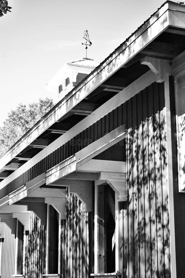 Covered bridge. Black and white covered bridge royalty free stock photos