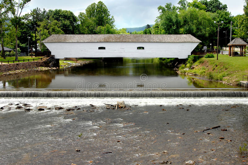 Covered Bridge and Falls royalty free stock image
