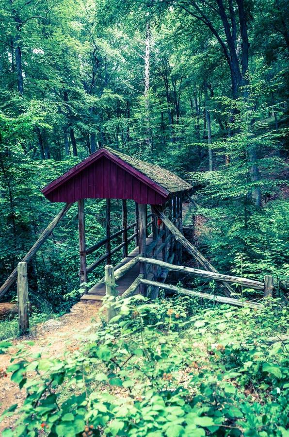 Covered bridge in Gillette Castle State Park stock photo