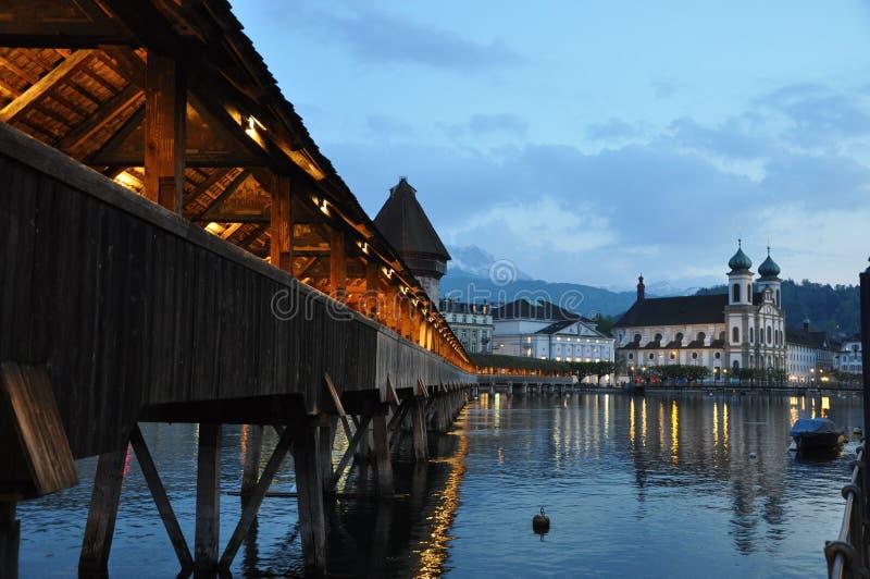 Covered bridge Luzern Swiss evening royalty free stock photography