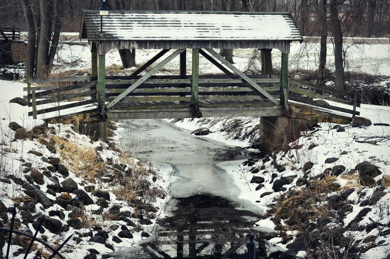 Covered Bridge over Coon Creek royalty free stock photo
